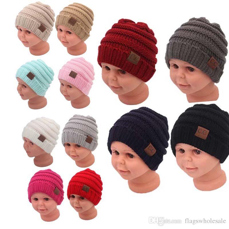 d7153ba1644ac 2017NEW Fashion Baby Hats CC Trendy Beanie Crochet Beanies Outdoor Hat  Winter Newborn Beanie Children Wool Knitted Caps Warm Beanie