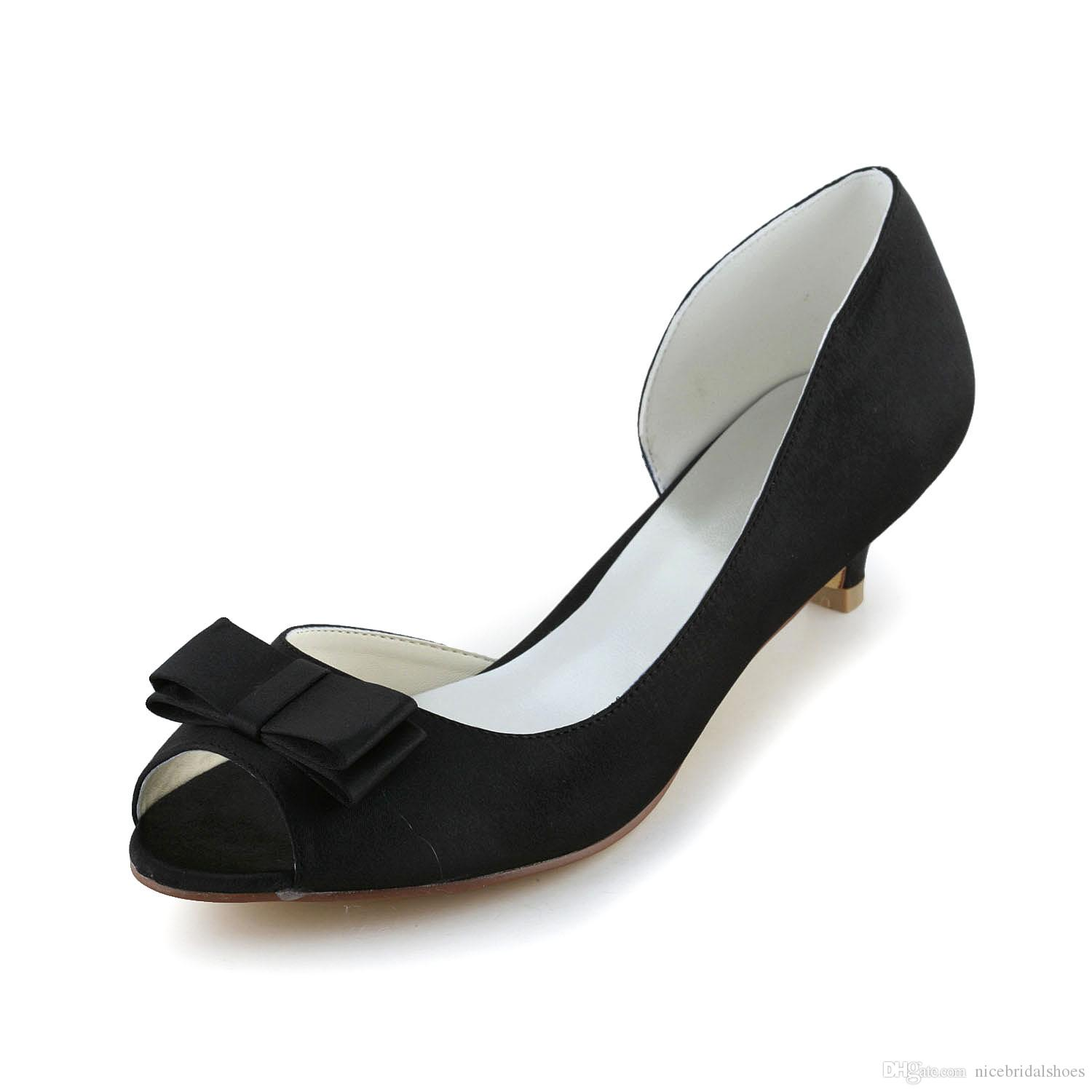 a8f1f0ce845 New fashion wedding shoes low heels black color dyeable satin simple style  women s Shoe wedding bridal shoes sandal Bridal Shoes low pr