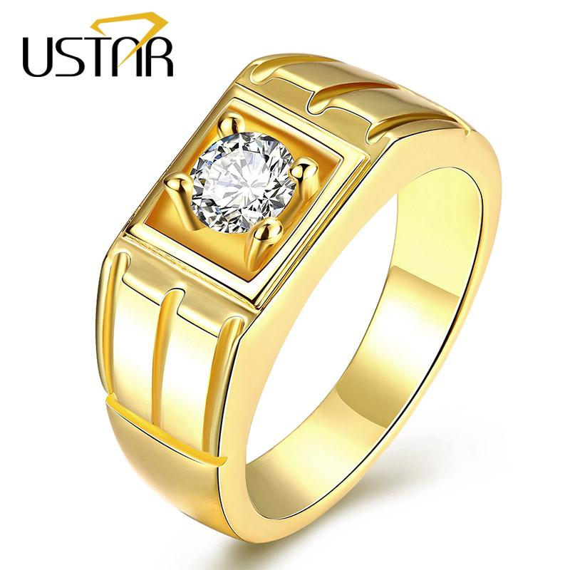 2018 Ustar Yellow Gold Color Wedding Rings For Men Jewelry Stainless ...