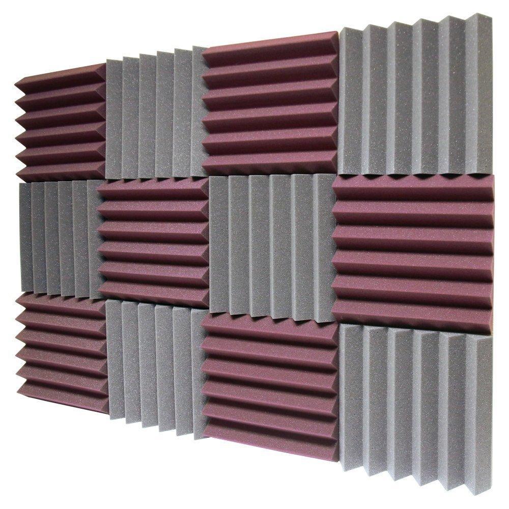 2019 12 Pack Burgundy Charcoal Acoustic Foam Sound