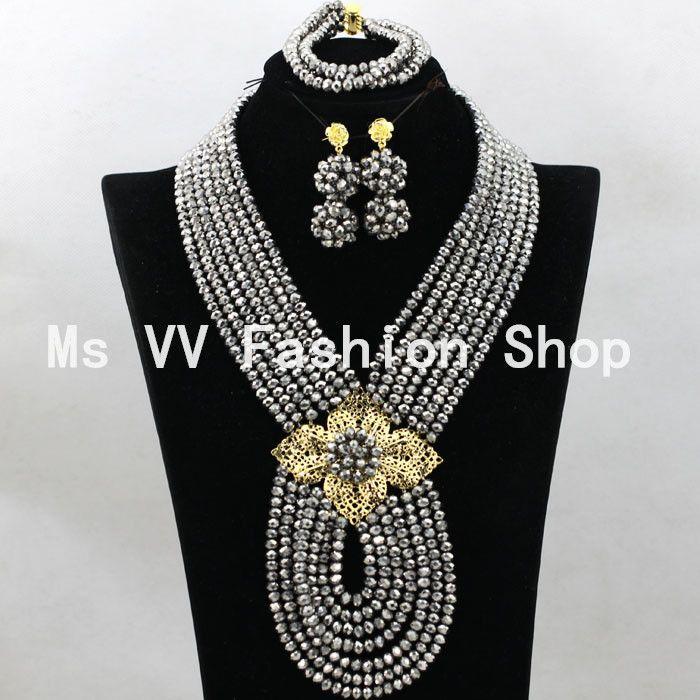 Azul real perlas africanas Sistemas de la joyería 18 K oro Champagne nigerian Beads de boda joyas de plata colgante conjuntos 2019 nuevos artículos africanos G01