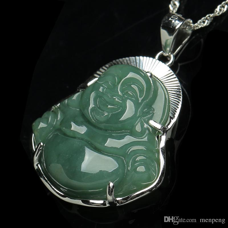 Authentic 925 silver inlaid jade Buddha pendant natural A cargo oil Burma jade green jade Buddha and hang for women