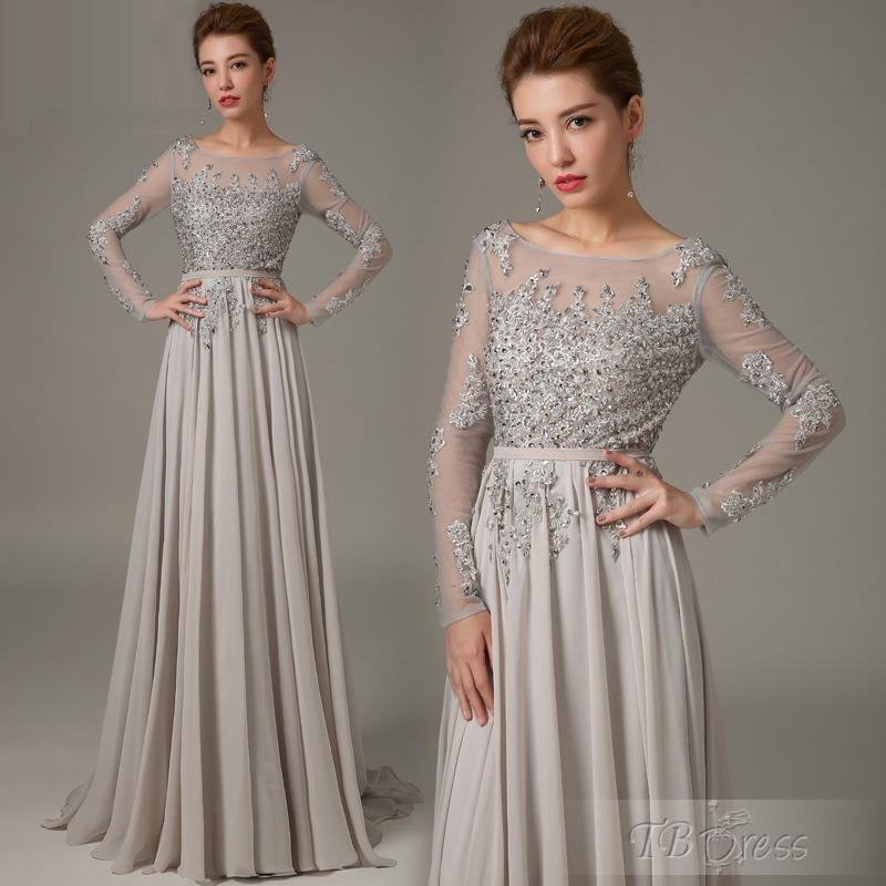 Mother Of The Bride Groom Dresses Grey With Long Sleeves Crystals ...