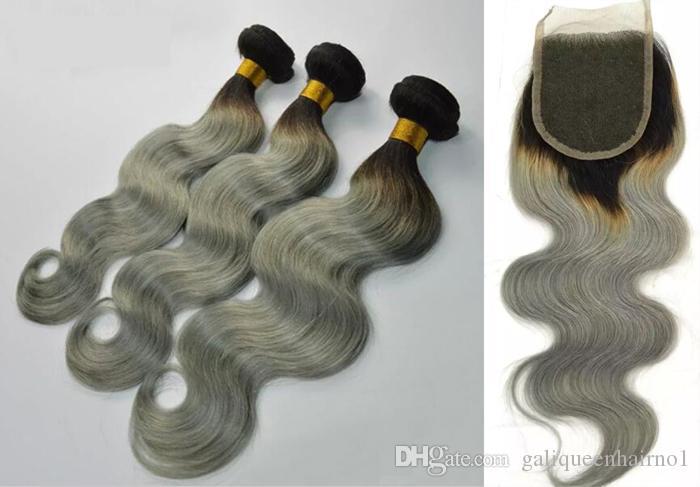 Бразильская волна тела человеческих волос Weaves с кружевным закрытием человеческих волос Weaves Ombre Red Blue Purple 99J Burgundy 1B / 4/2 27 уток