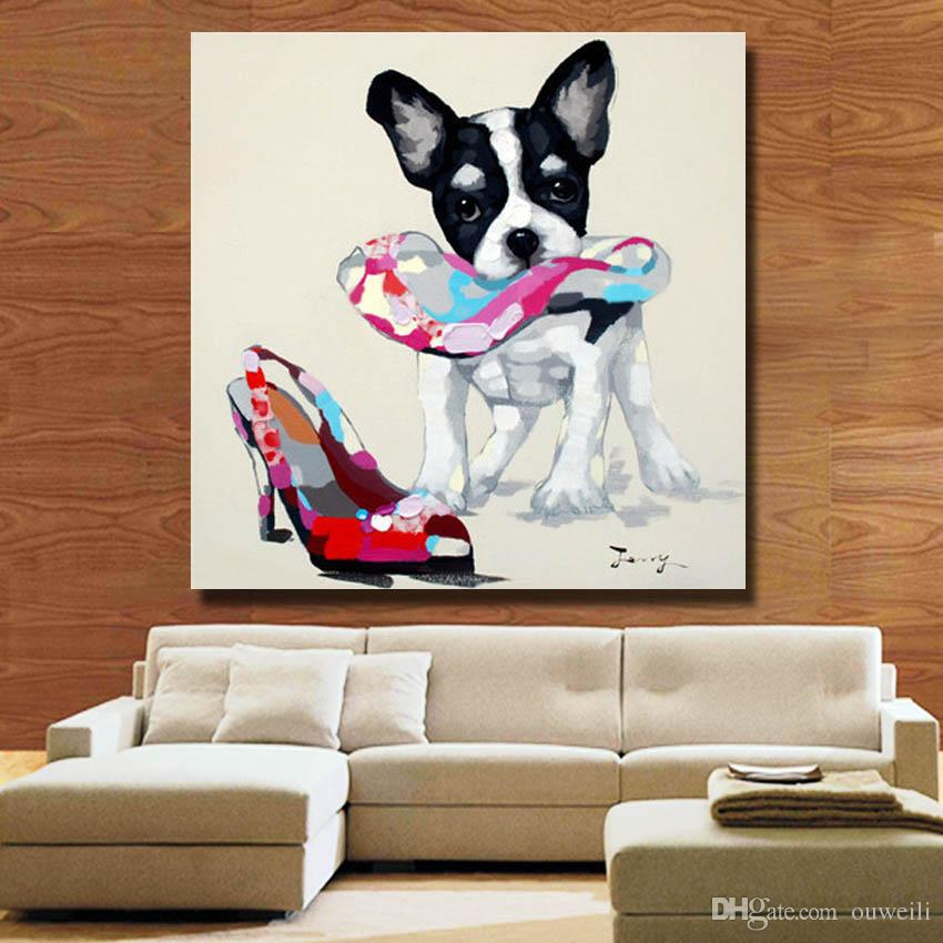 Dog and women high heel pictures dropshipping art dog oil painting pop art dog image online shopping