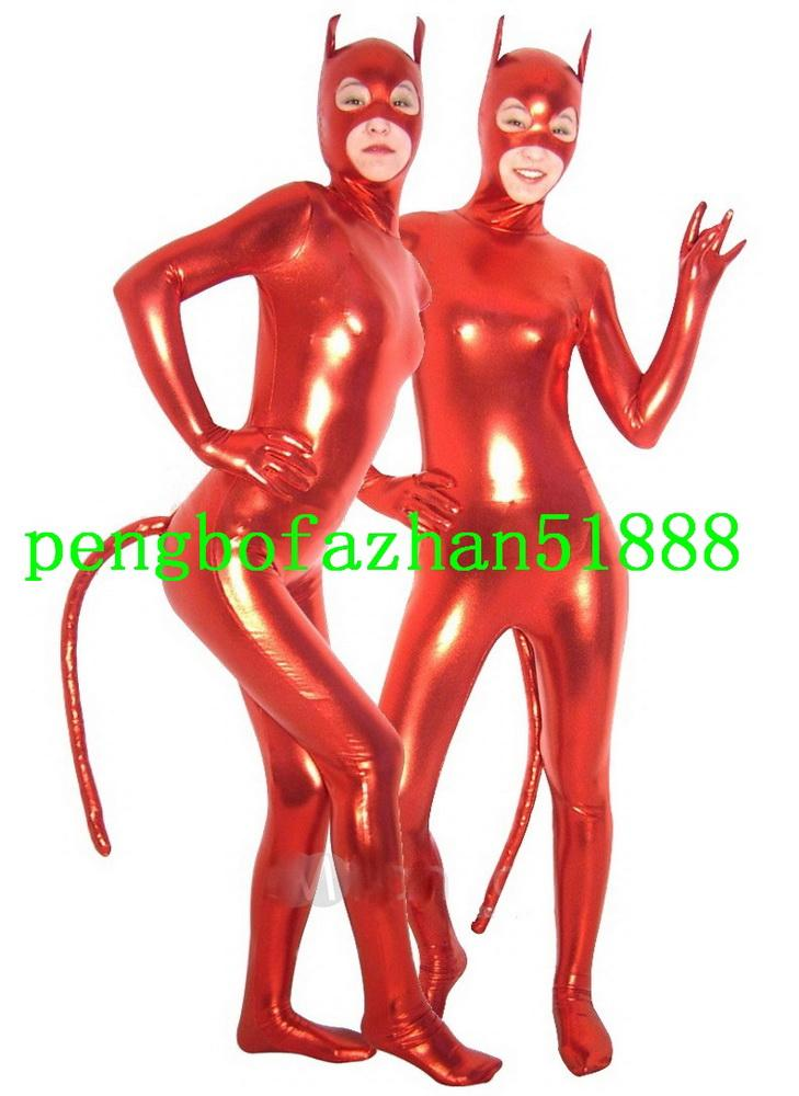 Fantasy Catwoman Costumes Outfit New Shiny Lycra Metallic Cat Suit Catsuit Costumes Unisex Cat Bodysuit Halloween Cosplay Suit P098