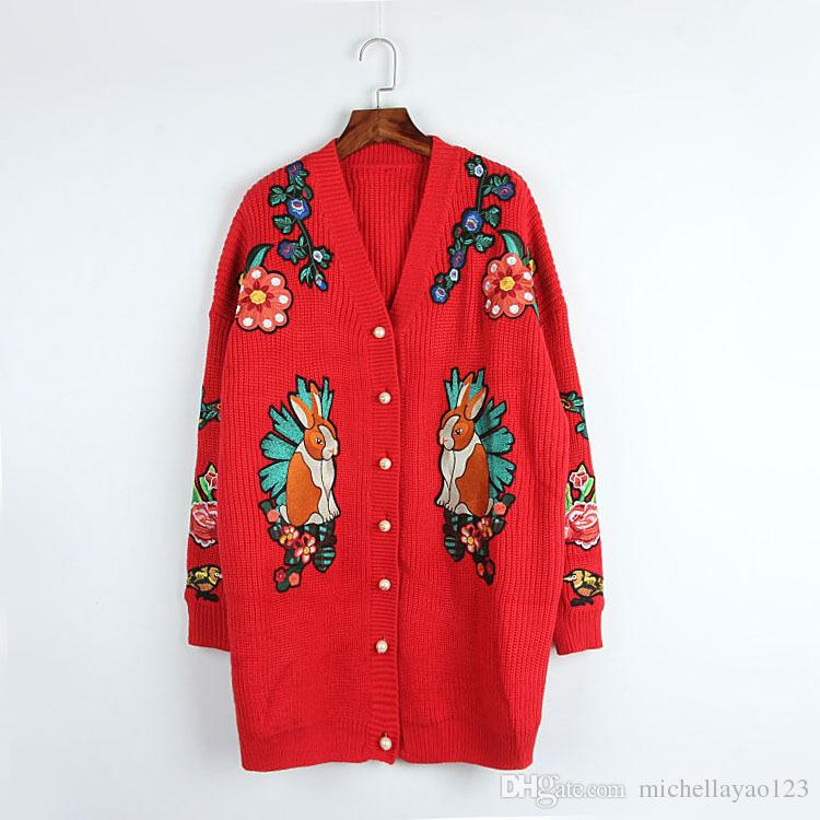 2017 Autumn Red/Black Rabbit Tiger Flowers Embroidery Wome's Cardigan V Neck Button Brand Same Style Women's Sweaters DH066