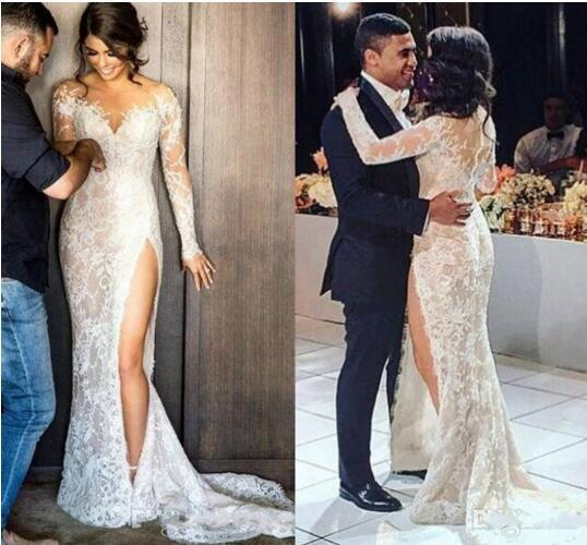 새로운 빈티지 스티븐 칼릴 긴 레이스 스플릿 인어 웨딩 드레스와 긴 소매 환상 아랍어 트럼펫 웨딩 드레스