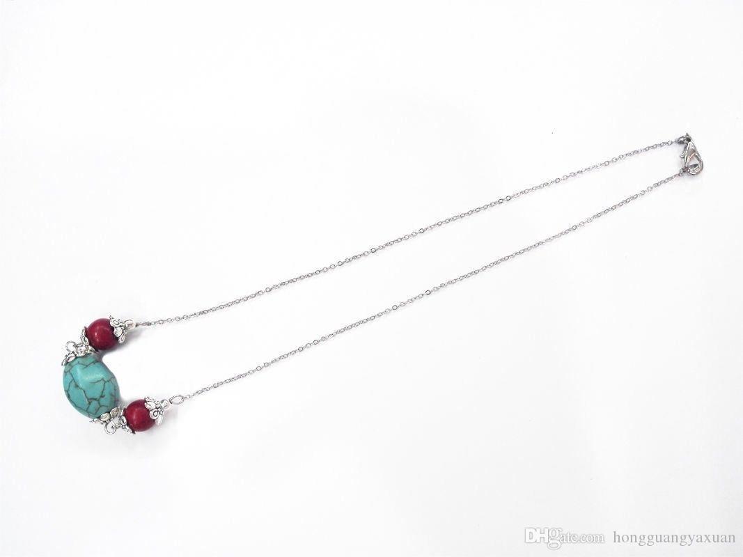 18 '' 15x20mm Girocollo in pietra turchese con perle rosse Collana in argento