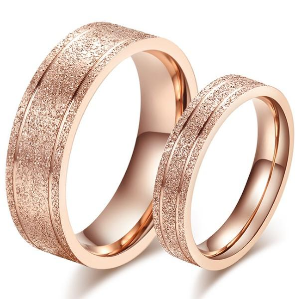 Korean Stylish Sandblasting Craft Rose Gold Couple Rings Titanium
