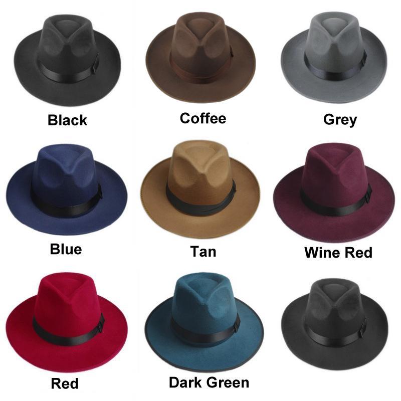 Vintage Hommes Femmes feutre dur Hat Fedora Trilby large Brim Chapeau de Panama Gangster Cap