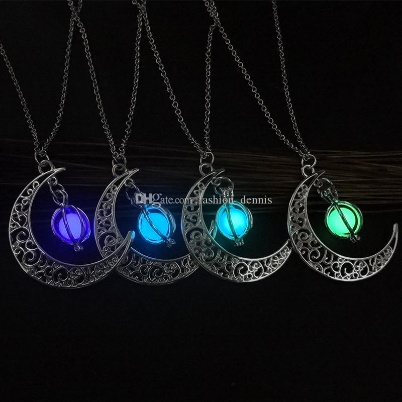 Fashion shine Moon Luminous Stone necklaces Glow In The Dark Essentials Oil Diffuser pendants necklace For women Ladies Girls Jewelry Gift
