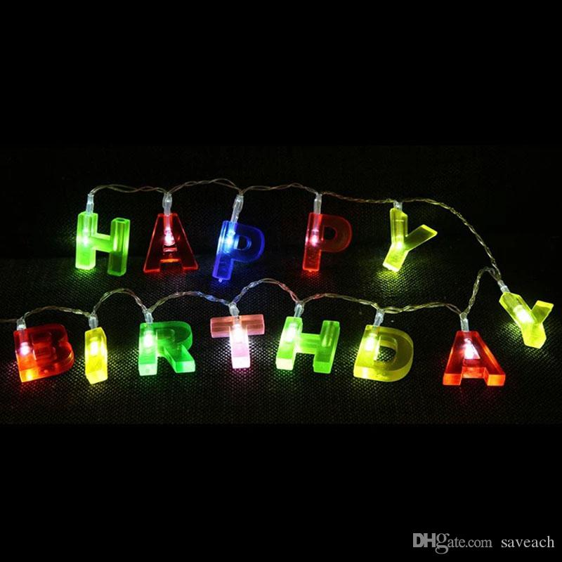 13 LED HAPPY BIRTHDAY Letter Shaped Battery Operated String Lights Birthday Party Decor Supplies For Indoor Home House Decorative Uk