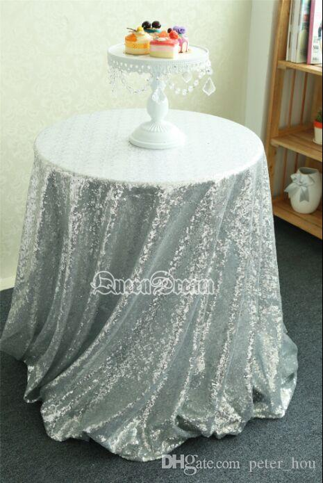 china wholesale round silver sequin fabric table cloth for wedding cheap sequin tablecloth wedding cake table cover event party banquet from