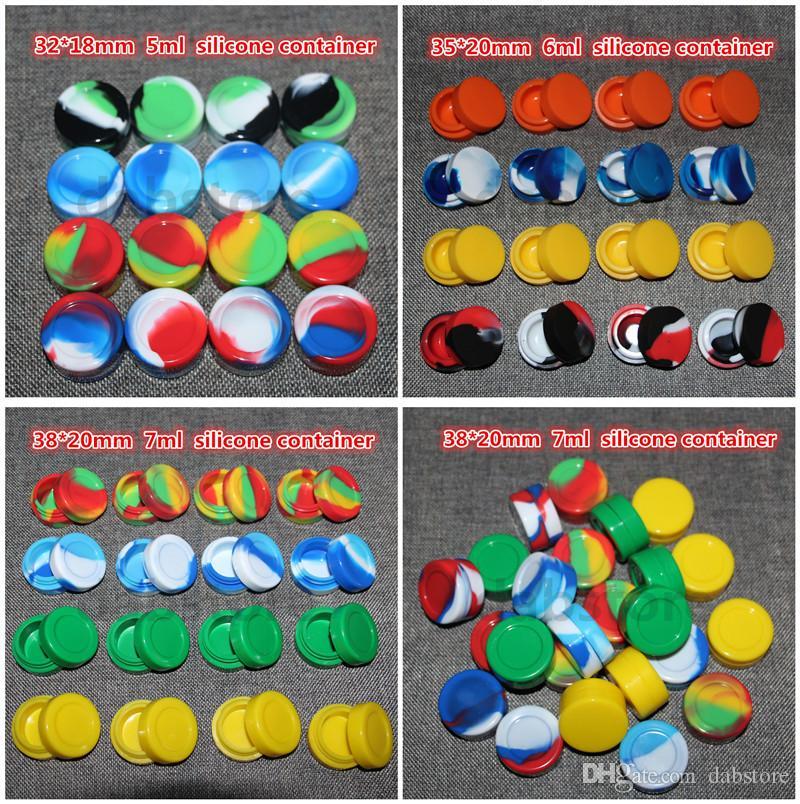 Atacado recipiente cera de silicone bho, recipientes de óleo de silicone, 1.5 ml / 3 ml / 5 ml / 6 ml / 7 ml / 10 ml de silicone dab jar com o frete grátis