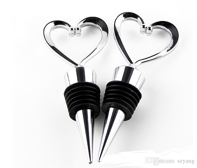 Heart Shaped Wine Bottle Stopper Twist Wedding Favor Gifts 2017 New Arrival Wine Bottle Stopper Bar Tools Silver Color