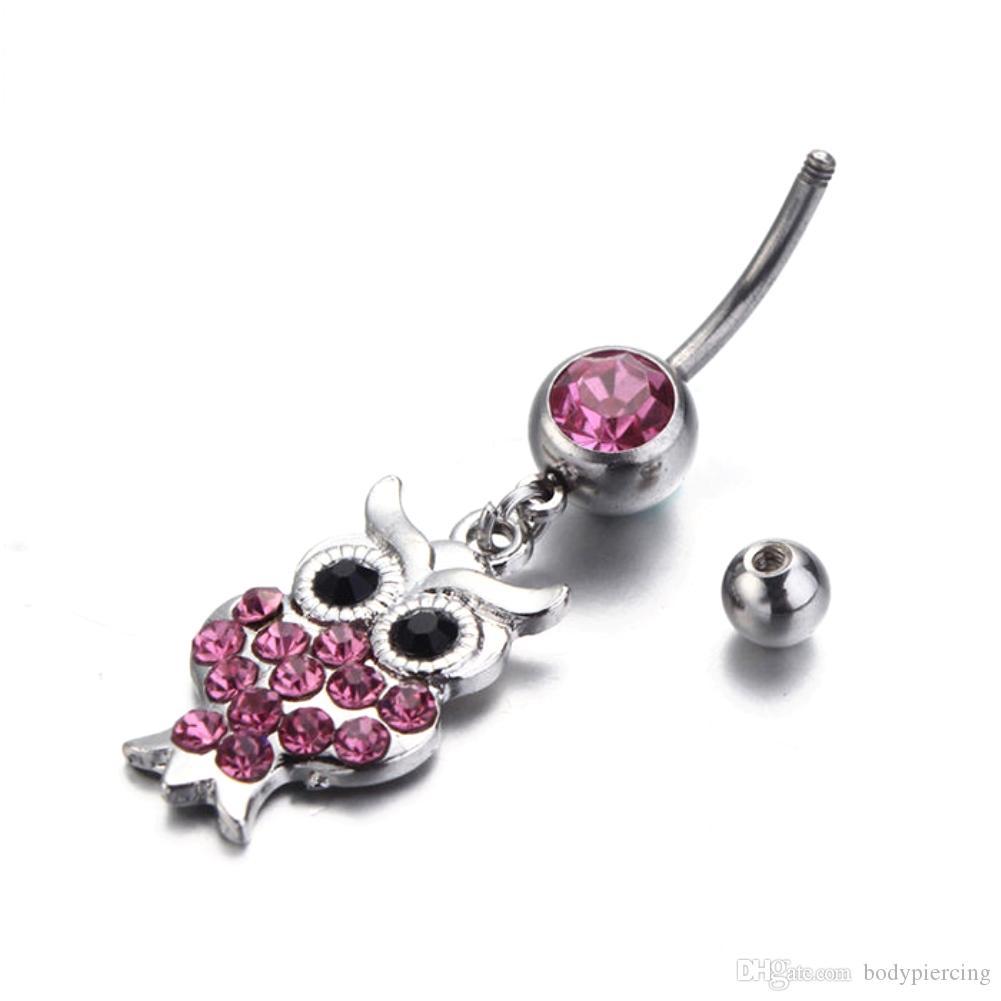 5 шт./лот симпатичные Сова пупка кольца 316L хирургическая сталь мода мотаться пупок кольца ювелирные изделия для женщин живота пирсинг ювелирные изделия тела