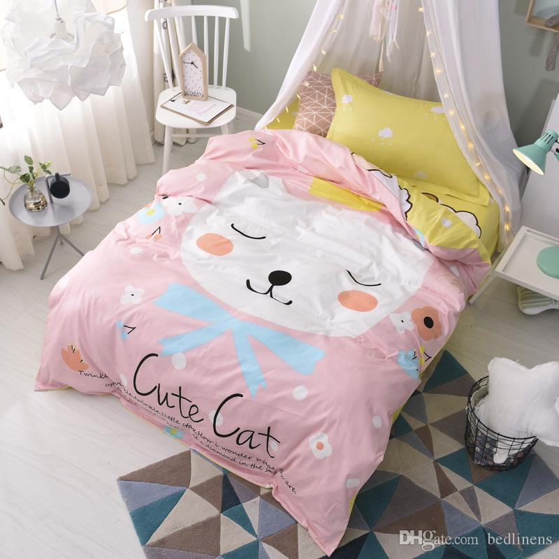Cute Pink Cat Comforters Quilts Sets Duvet Covers Bed Sheets Pillow Shams Bedspreads 100 Cotton Teen Children Girl Christmas Gift Twin Size