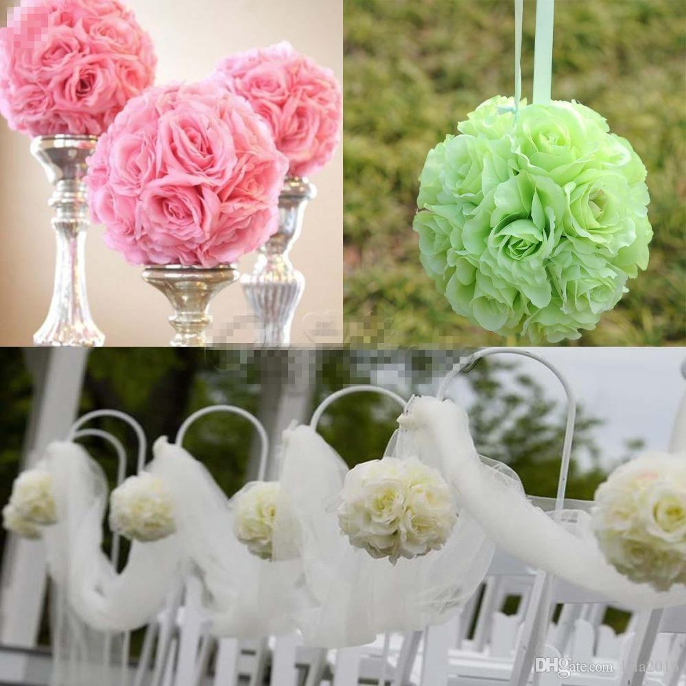 25cm 10 Diameter Silk Rose Flower Hanging Ball Artificial Bouquet