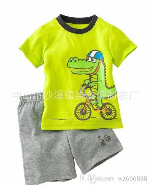 Boy Pajamas Kids Summer Clothing Set Children Pijamas Cartoon Letter T-shirts+Shorts Boys girls Sleepwear Kids Pajama Set Cotton
