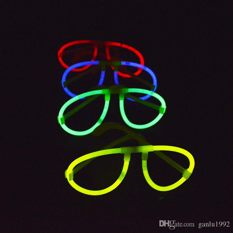 Recién llegado de gafas para niños Divertido Gafas de plástico PE Gafas redondas festivas decorativas festivas sin barra fluorescente 0 35wy B