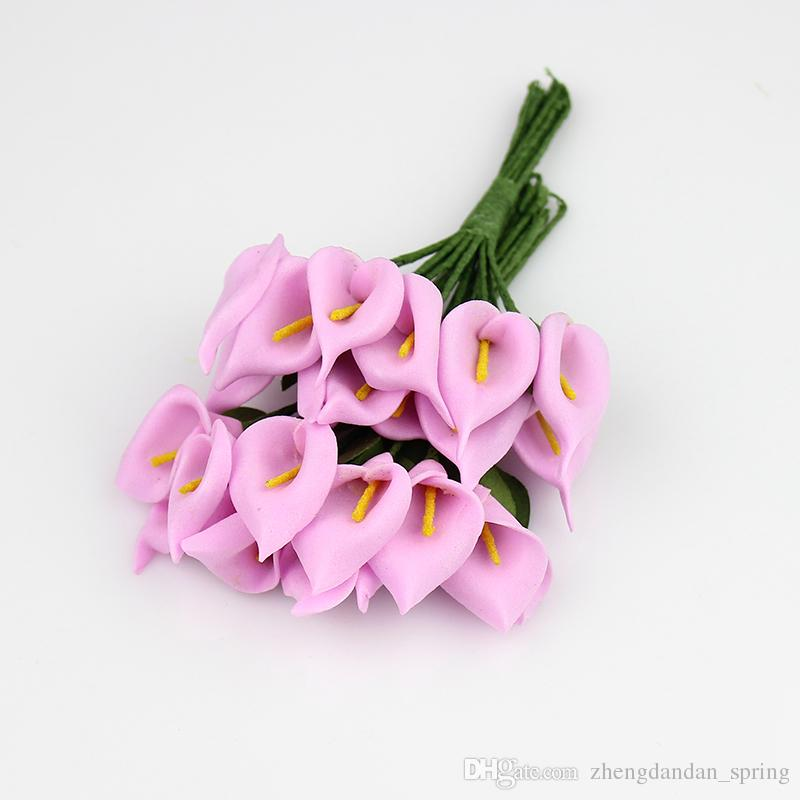 2.5 cm Köpük Calla zambak Handmake Yapay Çiçekler Buket Düğün Dekorasyon Çelenk Kutusu Scrapbooking Sahte Çiçek 144 adet / grup