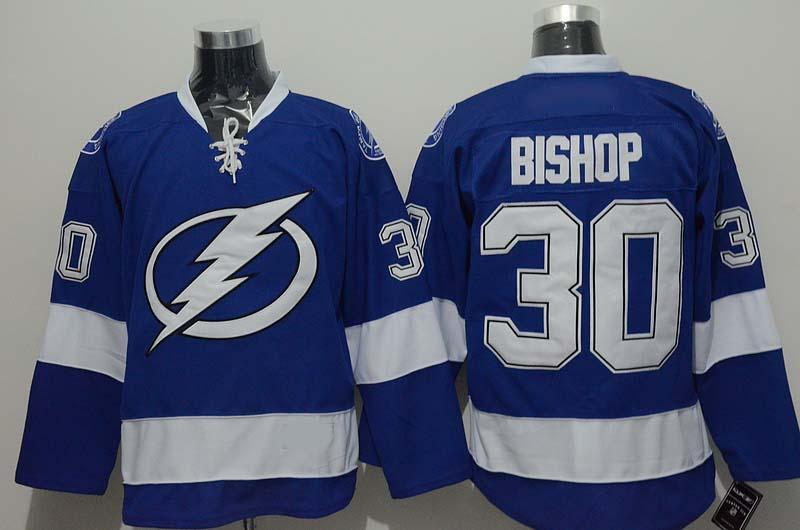 2d6646e521d ... 2016 Men Tampa Bay Lightning Ice Hockey Jerseys Cheap 30 Ben Bishop  Jersey Blue White Authentic ...