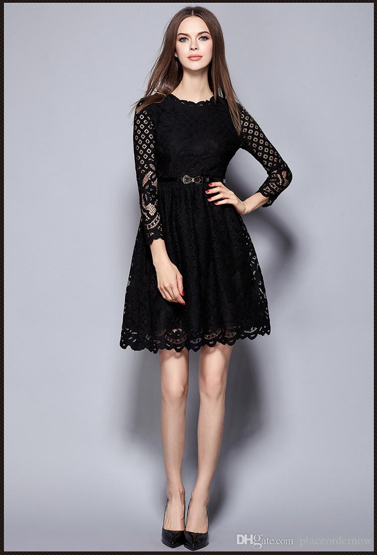4aa2f2d8c9994 2016 Autumn And Winter New Elegant Ladies Wind Ladies Sexy Black Lace  Openwork Soluble Thin Waist O Neck Women Casual Dress Black Strapless Dress  White ...