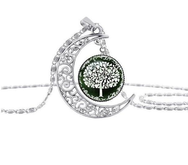 Hollow Carved Moon Life Tree Time Gem Necklace
