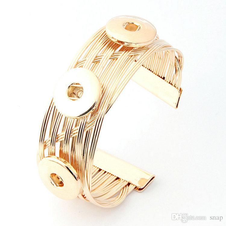 NO.t1 vendita calda Snap Bangles argento placcato alta qualità fai da te gioielli snap bottoni a pressione