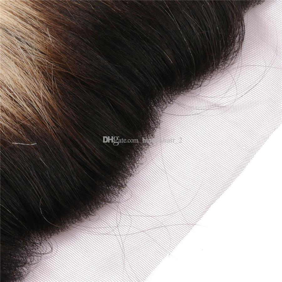 옹 브르 금발 브라질 버진 머리 정면 폐쇄 13 * 4 전체 레이스 정면 번들 와 인간의 머리 직선 Frontals와 직조