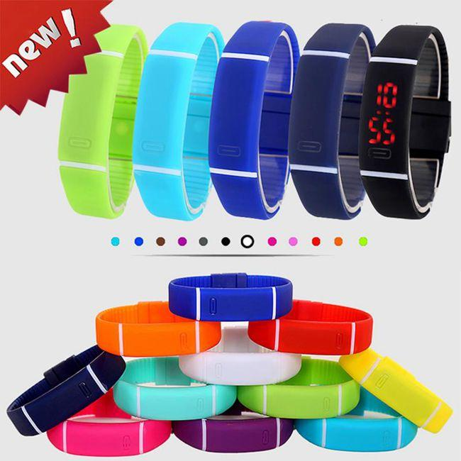 Small Order Newly Design Mens Womens Unisex Candy Color Rubber LED Watch Date Sports Bracelet Digital Wrist Watches