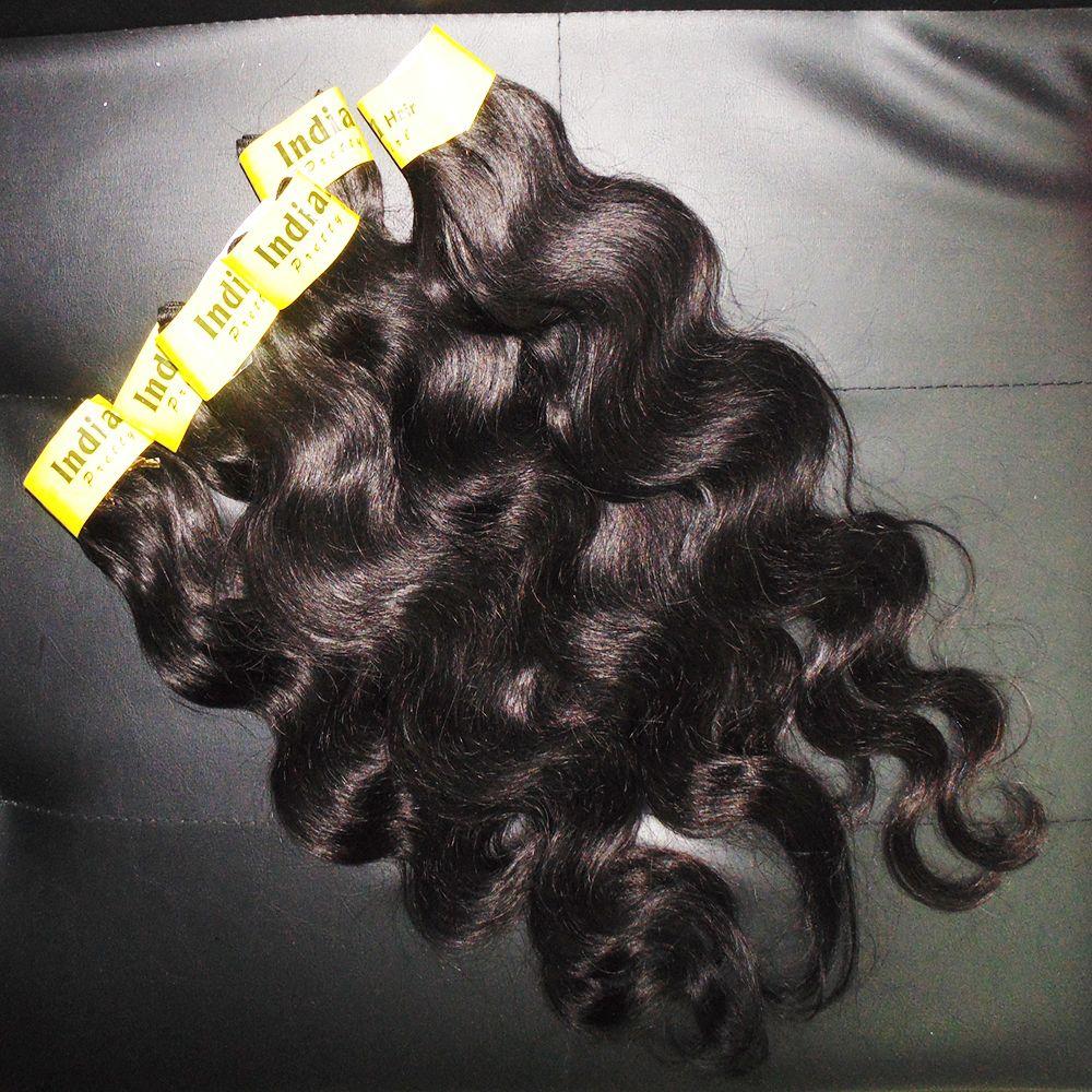 Grado 7A 100% procesado indio puro hinchables humano extensiones de cabello tejido / tramas onda del cuerpo silkly envío rápido libre
