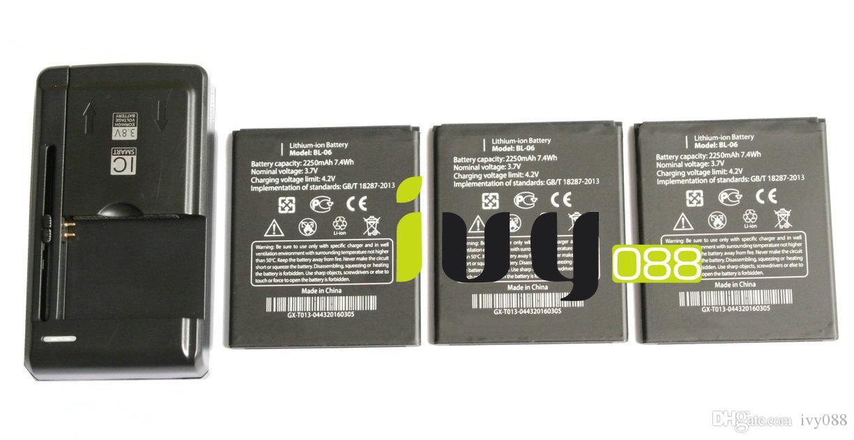 3 قطع 100٪ الأصلي BL-06 BL06 bl 06 2250 مللي أمبير بطارية + العالمي usb الجدار شاحن ل thl t6s t6c t6 الموالية