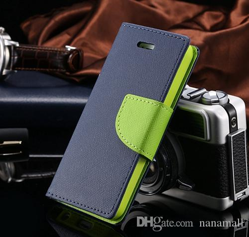 Quality PU Leather Stand Case Card Slot flip cover For iPhone 4 5 6/6Plus Samsung Galaxy S3 S4 S5 S6 Note2/3/4 + Retail Package