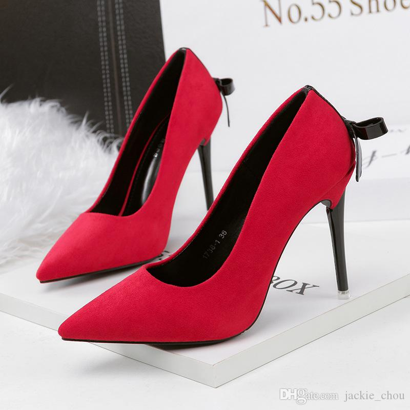 Women Fashion Suede Single Shoes Sexy Pointed Toe High-heeled Dress ... 9c4503062bcb