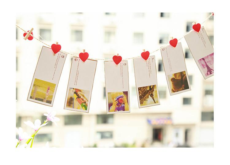 Love Red Heart Wooden Mini Colourful Clip Photo Paper Wood Pegs Kids Crafts Party Favor Home Wedding Party Decoration