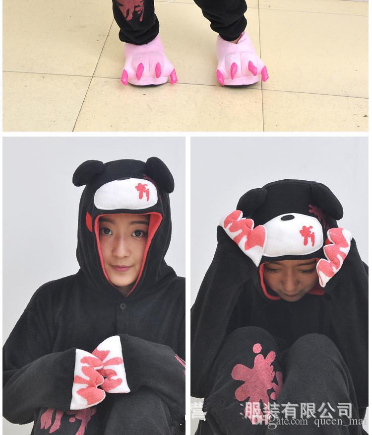 Ucuz DHL Pijamas Siyah Pembe Kasvetli Ayı Polar Sıcak Polar Japonya Anime Moda Onesie Pijama Hayvan Cosplay Yetişkin Konfeksiyon Tulum Suits