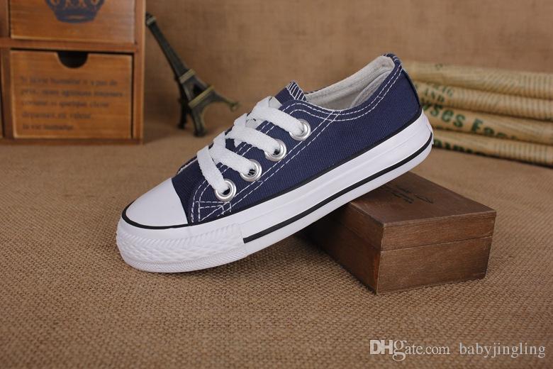 AB boyutu 24-34 Yeni marka çocuk kanvas ayakkabılar moda yüksek-düşük ayakkabı erkek ve kız spor kanvas ayakkabılar ve spor ço ...