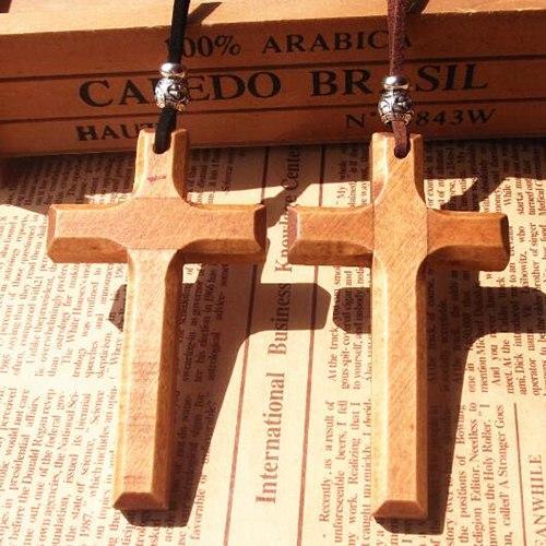 Jesus Holz Kreuz Anhänger Halskette Vintage lange Pullover Kette Silber Perlen Lederband Männer Frauen Schmuck handgemachte stilvolle Weihnachtsgeschenke 12st