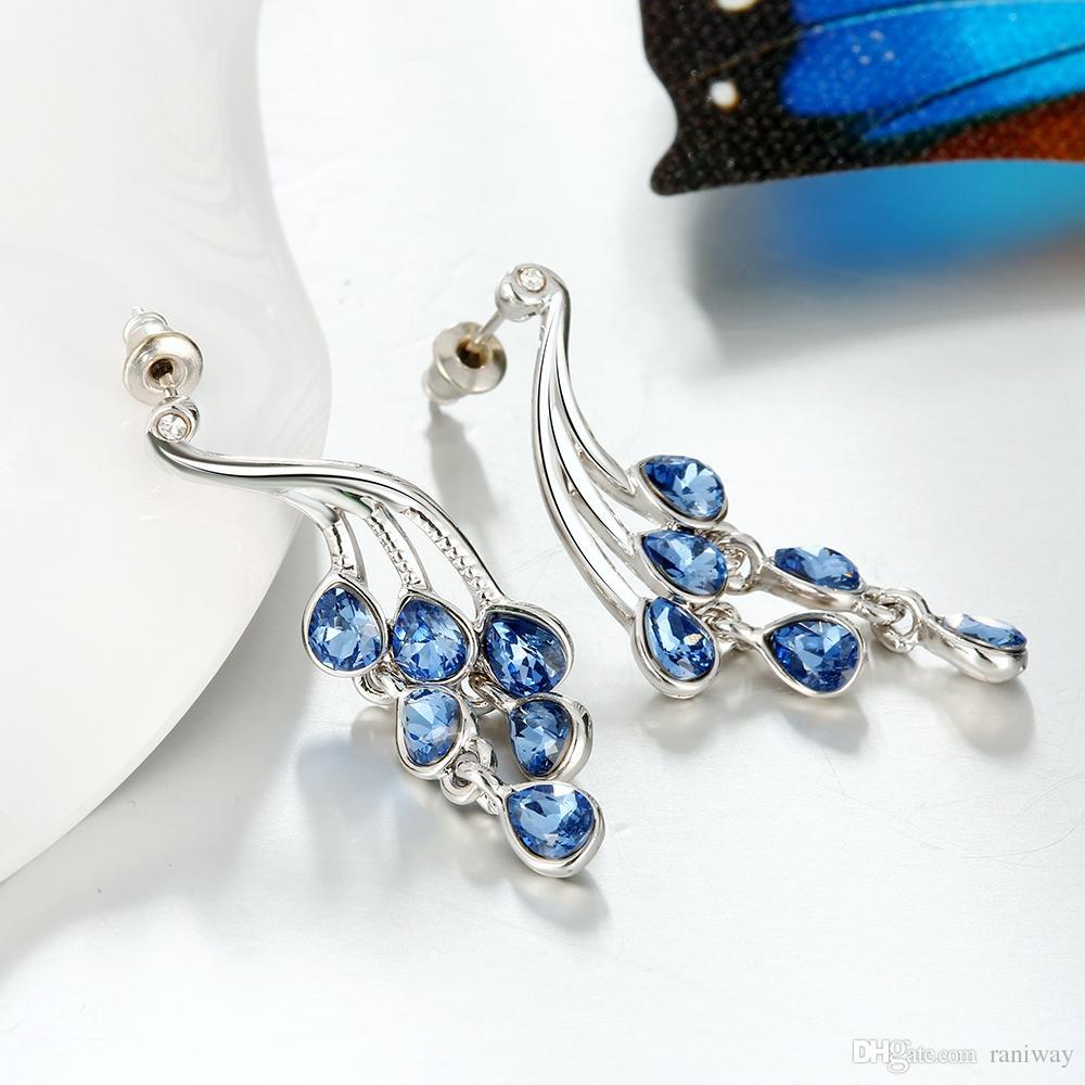 2016 neue Ankunft Luxus Platin Überzogene Blauer Saphir Baumeln Kronleuchter Ohrringe für Frauen Braut Hochzeit Schmuck-Set