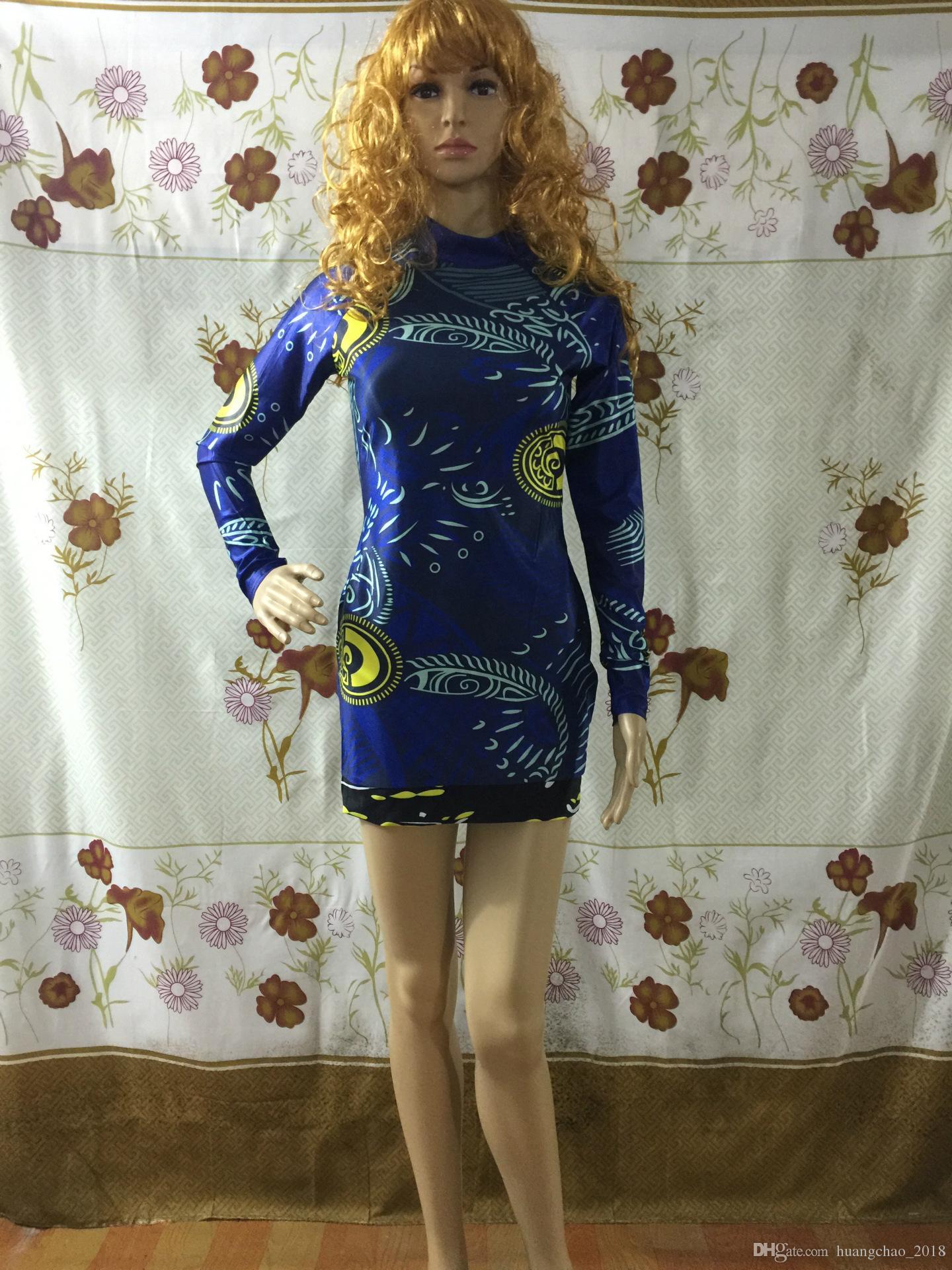 Kadın Elbise Seksi Yenilik Uzun Kollu Baskı Bandaj Elbise Vintage Mini Elbise Parti Akşam Zarif Balıkçı Yaka Mavi Kadın Giyim Vestidos
