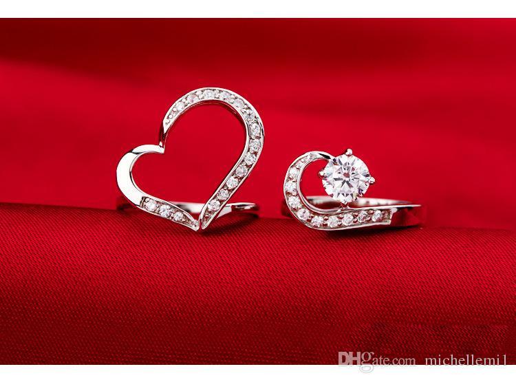 S925 Anello d'argento signora a forma di cuore in argento con gemme intagliate anello di felicità calda fidanzata madre il miglior regalo