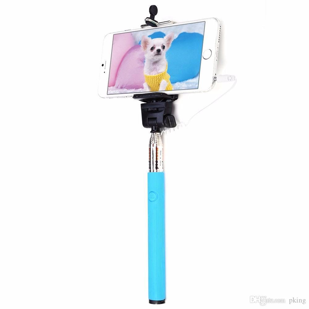 Cavo audio portatile Z07-5s Wired Selfie Stick Cavo monopolare estensibile Plug and Play Presa palo cablata SAMSUNG IPHONE