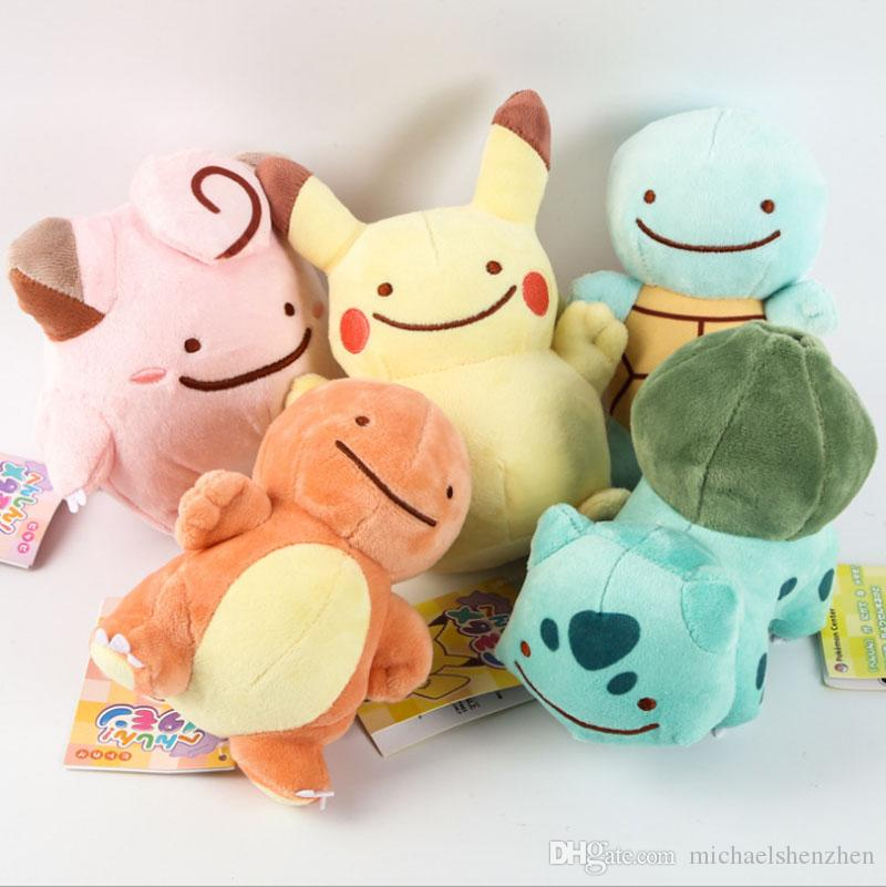 Poke Figures Plush dolls toys EMS 12-18cm 5 style children cartoon Pikachu Squirtle Charmander Poke Ball Sylveon Plush dolls toy B001