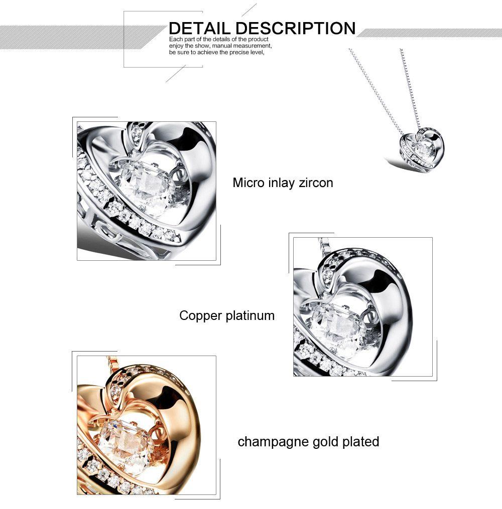 ZHF BIJOUX Cubique Zircone Coeur Pendentif Colliers Pour Femme Platine / Champagne Plaqué Or Femmes Bijoux Saint-Valentin Cadeau FKX640