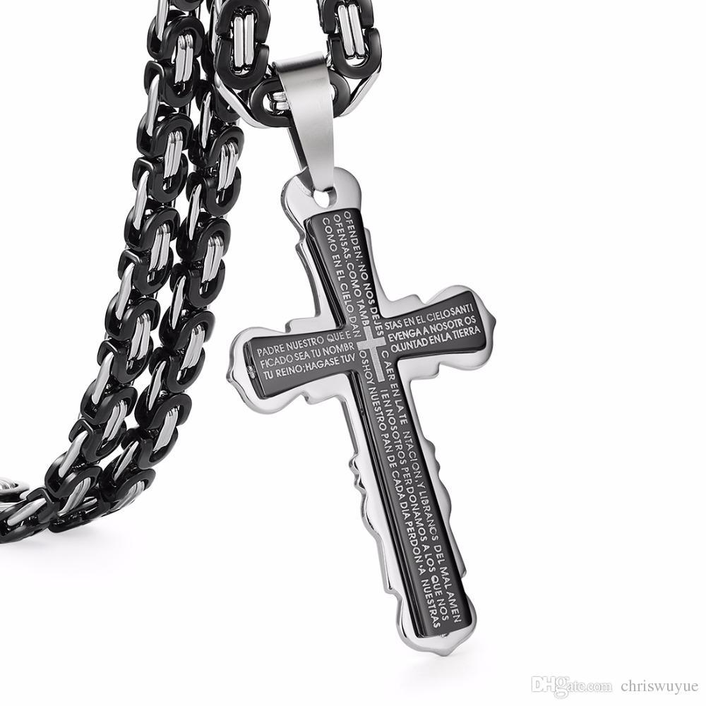 Heißer verkauf Schwarz Silber Ton Bibel Kreuz Starke Lange Thick Link Byzantinische Kette Geschenk für Männer Schmuck Edelstahl Anhänger Halskette Schmuck