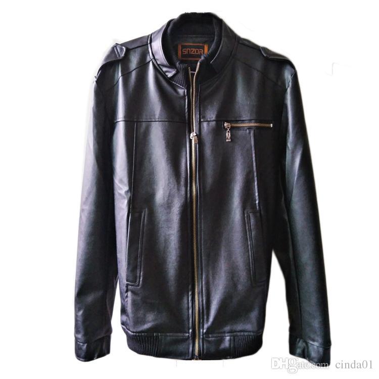 Chaqueta de cuero para hombre PU Abrigos de moda para hombres Ropa de negocios Ropa Motociclista Biker Chaquetas Cremallera Slim Fit Abrigos