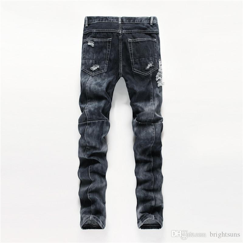 New fashion designed men's destroyed ripped Men fancy jeans ripped cheap jeans for men denim innovative design skinny jeans Size:29-38 Pants