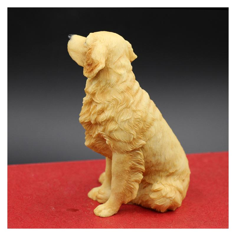 Sitting Golden Retriever Simulation Dog Figurine Crafts Handmade Carved Arts Decoration Figurine Crafts with Resin for Home Decoration